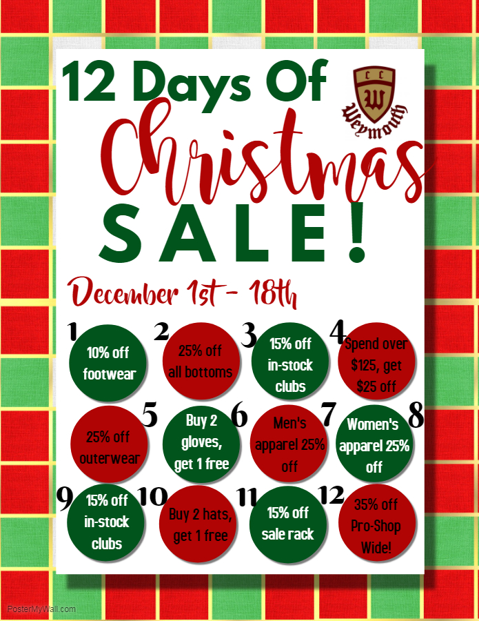 12 Days Of Christmas.Pro Shop Sale 12 Days Of Christmas Weymouth Country Club