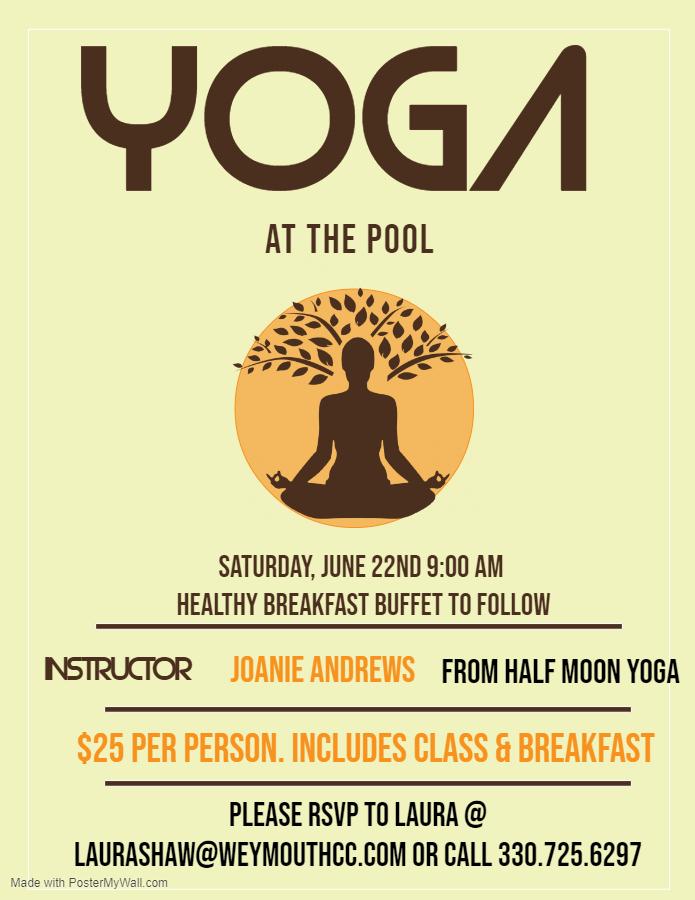 Good Morning Yoga   Weymouth Country Club   Saturday, June