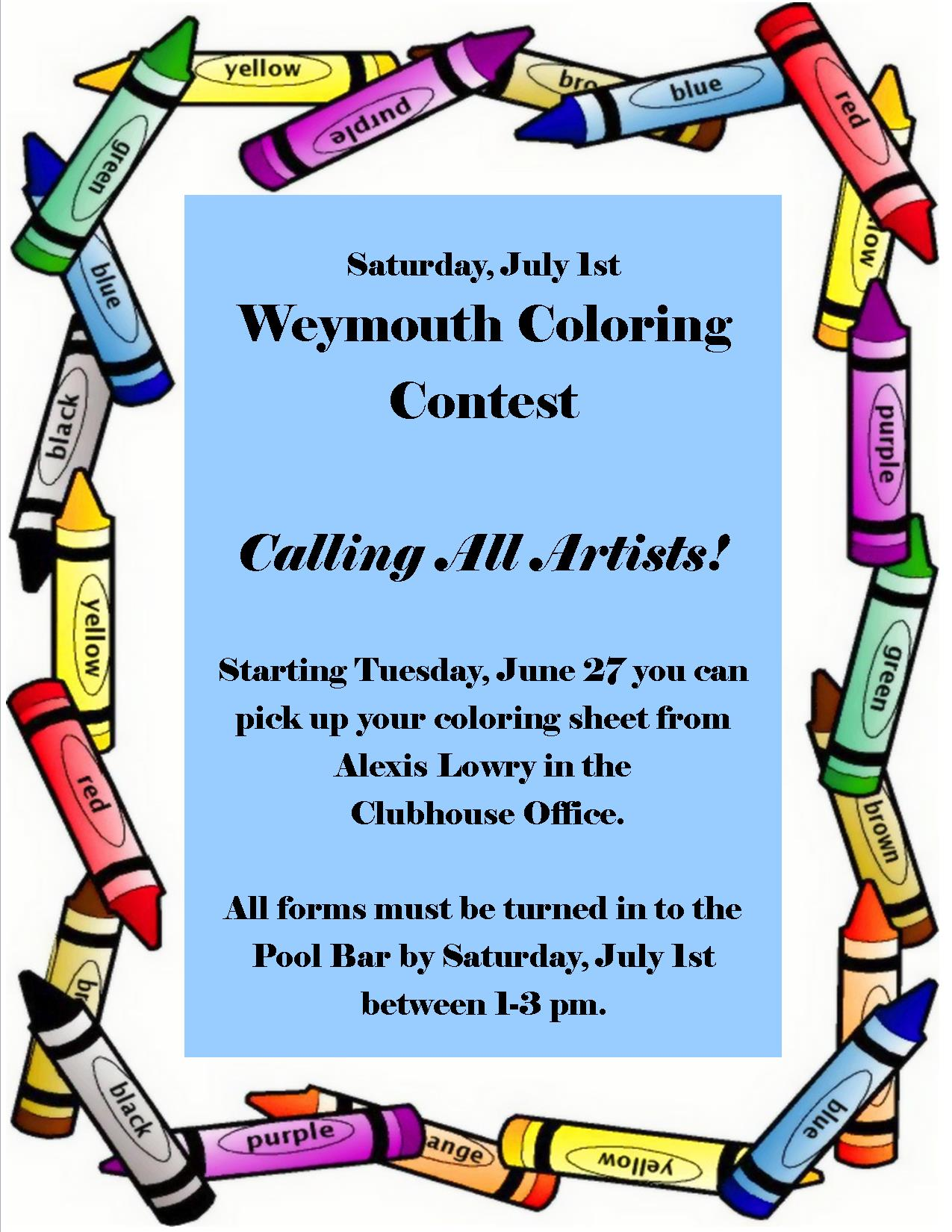 Kids Activity: Coloring Contest | Weymouth Country Club ...