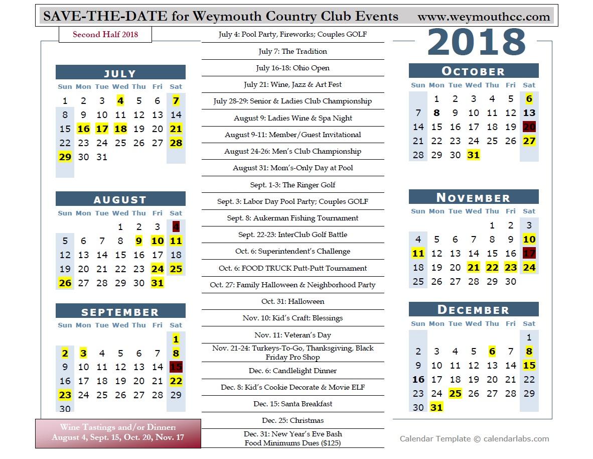 weymouth 2018 yearly calendar weymouth country club 2018 01 01